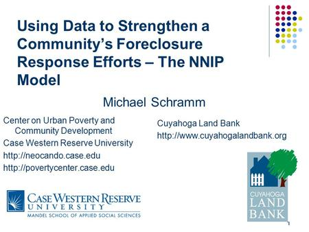 1 Using Data to Strengthen a Community's Foreclosure Response Efforts – The NNIP Model Center on Urban Poverty and Community Development Case Western Reserve.