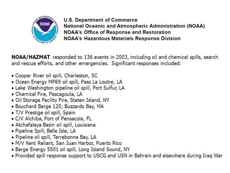 U.S. Department of Commerce National Oceanic and Atmospheric Administration (NOAA) NOAA's Office of Response and Restoration NOAA's Hazardous Materials.