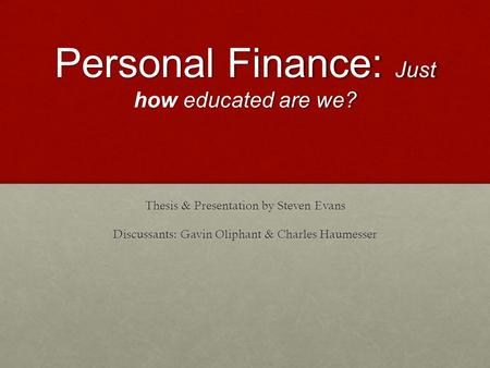 Personal finance thesis