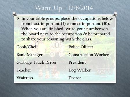 Warm Up – 12/8/2014  In your table groups, place the occupations below from least important (1) to most important (10). When you are finished, write your.