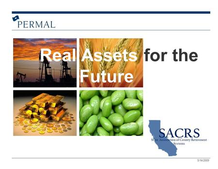 Real Assets for the Future SACRS State Association of County Retirement Systems 5/14/2009.