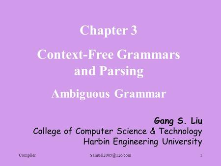Context-Free Grammars and Parsing