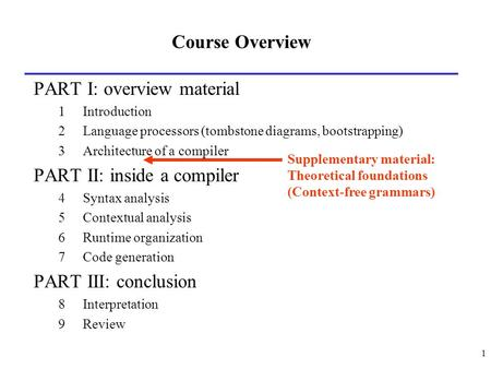 1 Course Overview PART I: overview material 1Introduction 2Language processors (tombstone diagrams, bootstrapping) 3Architecture of a compiler PART II: