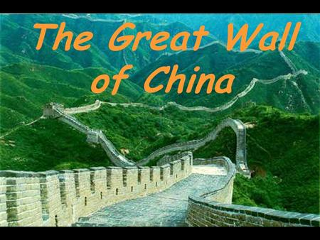 The Great Wall of China. The Great Wall of China is the world's largest military structure. It was built as a defense to stop invaders from northern areas.