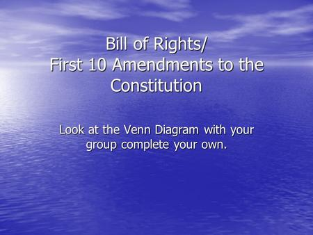 Bill of Rights/ First 10 Amendments to the Constitution