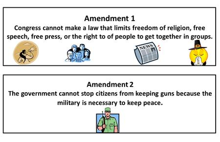 Amendment 1 Congress cannot make a law that limits freedom of religion, free speech, free press, or the right to of people to get together in groups. Amendment.
