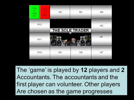The 'game' is played by 12 players and 2 Accountants. The accountants and the first player can volunteer. Other players Are chosen as the game progresses.