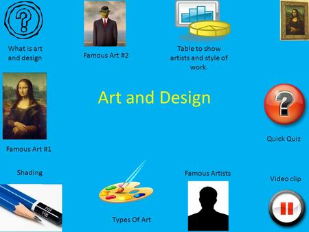 Art and Design What is art and design Quick Quiz Video clip Table to show artists and style of work. Types Of Art Shading Famous Art #1 Famous Artists.