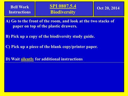 Bell Work Instructions A) Go to the front of the room, and look at the two stacks of paper on top of the plastic drawers. B) Pick up a copy of the biodiversity.