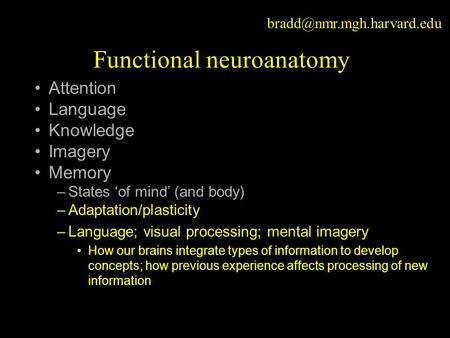 Functional neuroanatomy Attention Language Knowledge Imagery Memory –States 'of mind' (and body) –Adaptation/plasticity –Language;