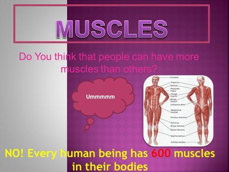 Do You think that people can have more muscles than others? Ummmmm NO! Every human being has 600 muscles in their bodies.