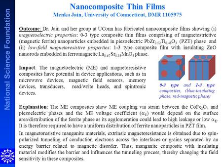 National Science Foundation Outcome: Dr. Jain and her group at UConn has fabricated nanocomposite films showing (i) magnetoelectric properties: 0-3 type.