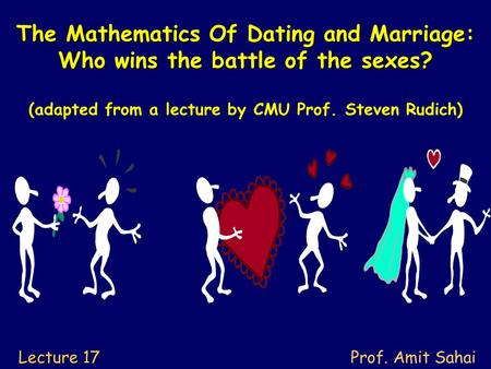 The Mathematics Of Dating and Marriage: Who wins the battle of the sexes? The Mathematics Of Dating and Marriage: Who wins the battle of the sexes? (adapted.