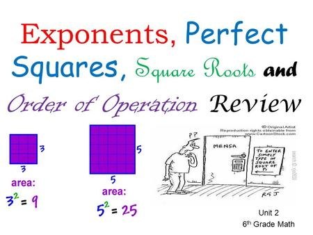 Unit 2 6 th Grade Math Exponents, Perfect Squares, Square Roots and Order of Operation Review.