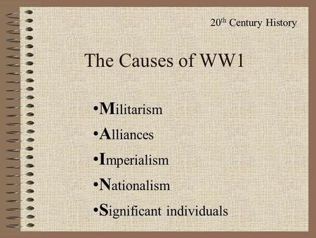 four main causes of ww1 essay
