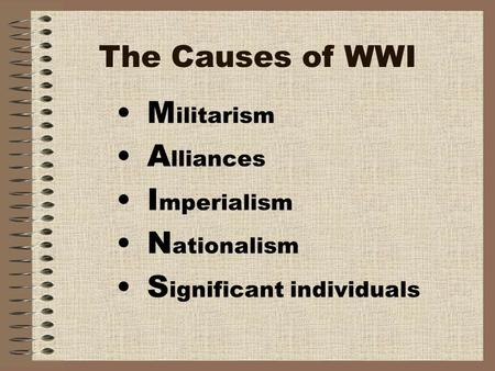The Causes of WWI M ilitarism A lliances I mperialism N ationalism S ignificant individuals.