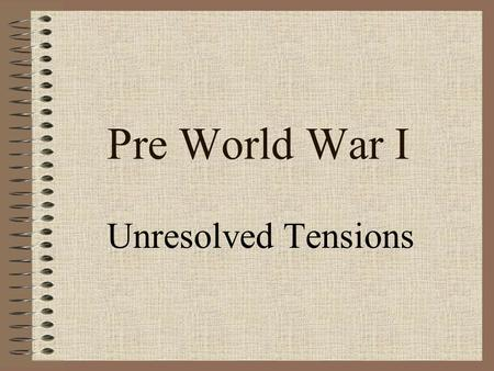 Pre World War I Unresolved Tensions. I. Competition for Africa North Africa Fashoda Affair Boer War Moroccan Crisis 1905 Algeciras 1911 French Protectorate.