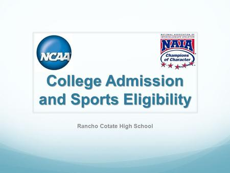 College Admission and Sports Eligibility