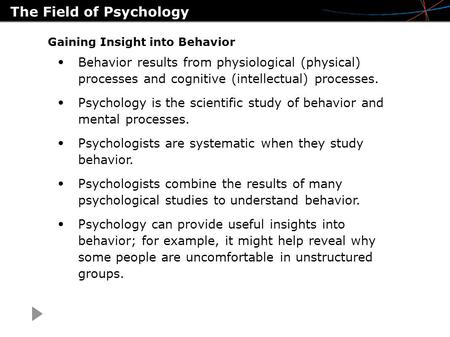 The Field of Psychology Gaining Insight into Behavior Behavior results from physiological (physical) processes and cognitive (intellectual) processes.