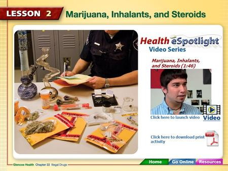 Marijuana, Inhalants, and Steroids (1:46) Click here to launch video Click here to download print activity.