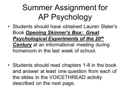 ap psychology summer enrichment Hanford high school - quality education in richland, washington ap lit summer assignment google classroom code: m6hinw5 ap psychology does not have a summer assignment.