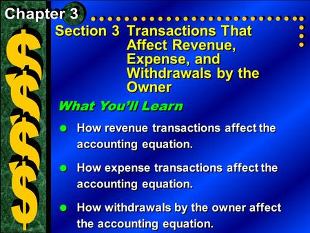 Section 3Transactions That Affect Revenue, Expense, and Withdrawals by the Owner What You'll Learn  How revenue transactions affect the accounting equation.