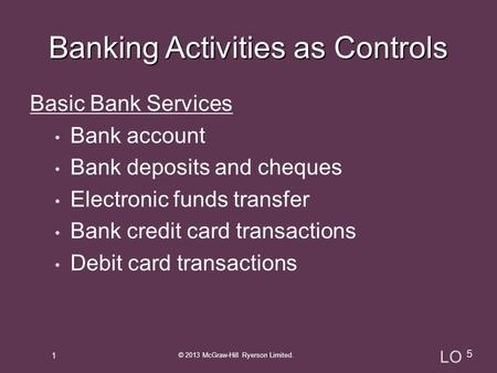 Basic Bank Services Bank account Bank deposits and cheques Electronic funds transfer Bank credit card transactions Debit card transactions 1 © 2013 McGraw-Hill.