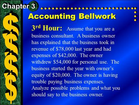 Accounting Bellwork 3 rd Hour: Assume that you are a business consultant. A business owner has explained that the business took in revenue of $78,000 last.