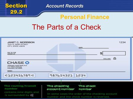 Personal Finance The Parts of a Check. There are three parties named on a check. PayeeDrawerDrawee The party to whom the check is written The party who.