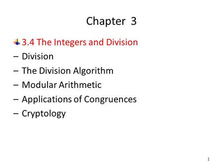 Chapter The Integers and Division Division