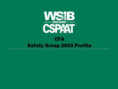 CFA Safety Group 2003 Profile. CFA- Safety Group 2003 Full-Time Equivalent Workers Instructions: These are embedded graphs. To edit a graph simply double-click.