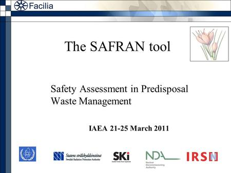 The SAFRAN tool Safety Assessment in Predisposal Waste Management IAEA 21-25 March 2011.