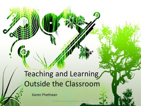 Teaching and Learning Outside the Classroom Karen Phethean March 2012Professional Practice 1 Sem 2 2012 KP.