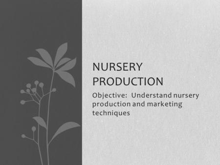Objective: Understand nursery production and marketing techniques NURSERY PRODUCTION.