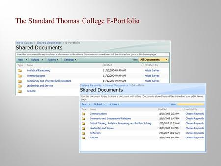 The Standard Thomas College E-Portfolio. Sample artifacts selected by the student as representative of the core competency Critical and Analytical Thinking.