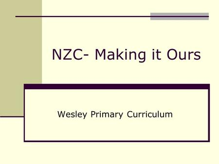 NZC- Making it Ours Wesley Primary Curriculum. National Vision School Vision Pupil Needs Current/Future Principles Values Key Competencies National School.