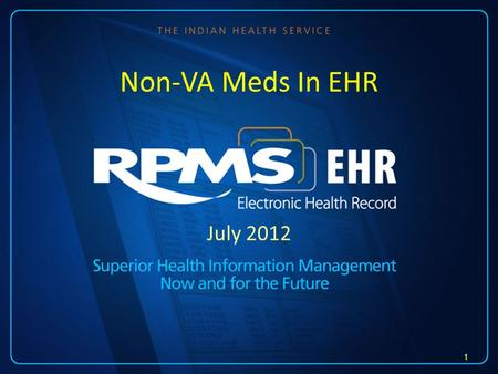 July 2012 Non-VA Meds In EHR 1. Requirements EHR v1.1 Pharmacy patch APSP 1005 EHR v1.1 patch 6 2.