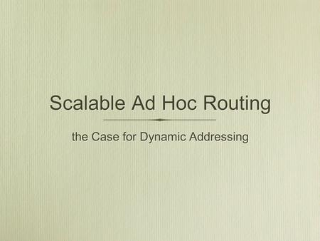 Scalable Ad Hoc Routing the Case for Dynamic Addressing.