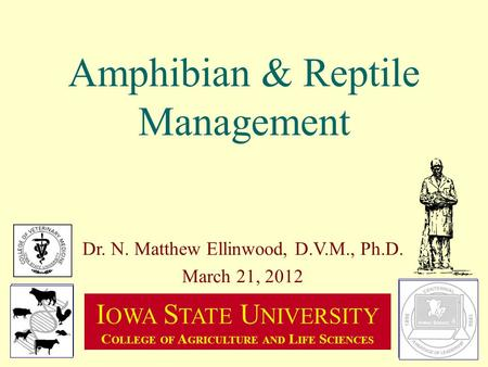 Amphibian & Reptile Management Dr. N. Matthew Ellinwood, D.V.M., Ph.D. March 21, 2012 I OWA S TATE U NIVERSITY C OLLEGE OF A GRICULTURE AND L IFE S CIENCES.