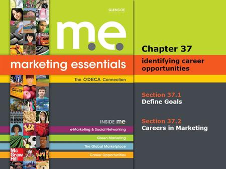 Section 37.1 Define Goals Chapter 37 identifying career opportunities Section 37.2 Careers in Marketing.