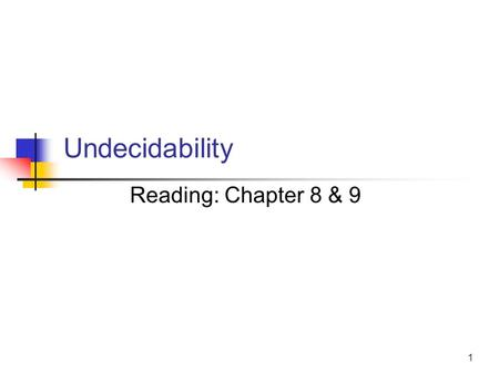 1 Undecidability Reading: Chapter 8 & 9. 2 Decidability vs. Undecidability There are two types of TMs (based on halting): (Recursive) TMs that always.