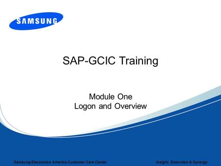 Module One Logon and Overview