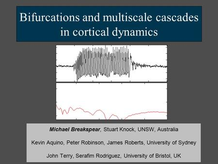 Bifurcations and multiscale cascades in cortical dynamics Michael Breakspear, Stuart Knock, UNSW, Australia Kevin Aquino, Peter Robinson, James Roberts,