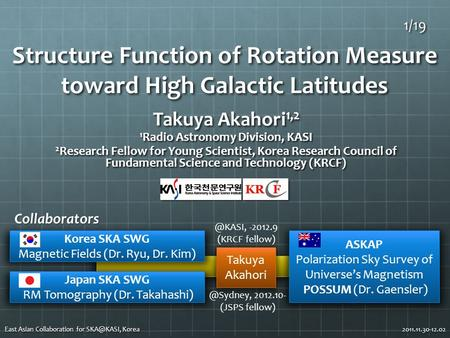 Structure Function of Rotation Measure toward High Galactic Latitudes Takuya Akahori 1,2 1 Radio Astronomy Division, KASI 2 Research Fellow for Young Scientist,