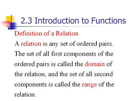 2.3 Introduction to Functions