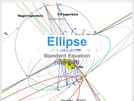 Ellipse Standard Equation Hyperbola. Writing equation of an Ellipse Example: write the standard form on an ellipse that has a vertex at (0,5) and co-vertex.