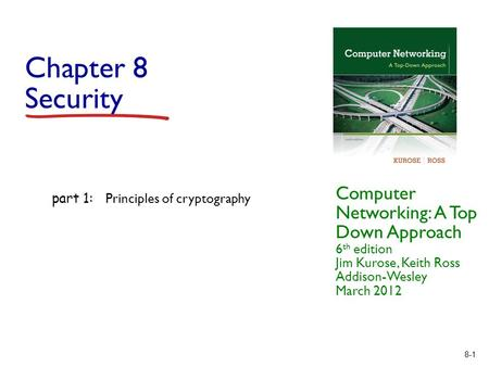 8-1 Chapter 8 Security Computer Networking: A Top Down Approach 6 th edition Jim Kurose, Keith Ross Addison-Wesley March 2012 part 1: Principles of cryptography.