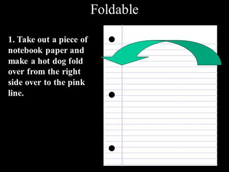 Foldable 1. Take out a piece of notebook paper and make a hot dog fold over from the right side over to the pink line.