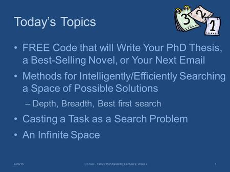 Today's Topics FREE Code that will Write Your PhD Thesis, a Best-Selling Novel, or Your Next Email Methods for Intelligently/Efficiently Searching a Space.
