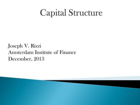 Joseph V. Rizzi Amsterdam Institute of Finance December, 2013.